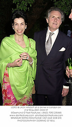 LORD & LADY HINDLIP at a dinner in London on 21st May 2001.	OOK 97