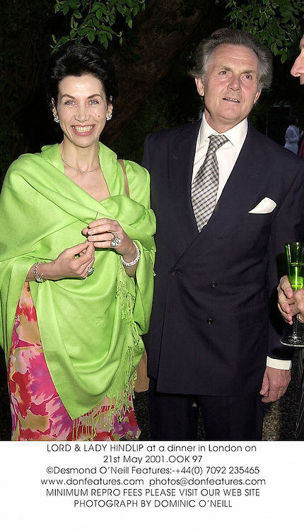 LORD & LADY HINDLIP at a dinner in London on 21st May 2001.OOK 97