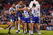 The Warriors celebrate the Agnatius Paasi try. Penrith Panthers v Vodafone Warriors. NRL Rugby League. Penrith Stadium, Sydney, Australia. 17th May 2019. Copyright Photo: David Neilson / www.photosport.nz