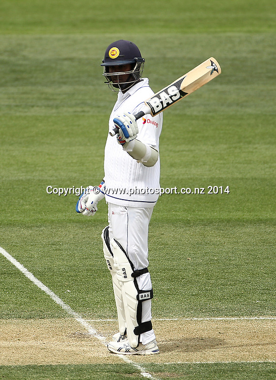 Angelo Mathews of Sri Lanka acknowledges the crowd for his 50 while batting on Day 2 of the boxing Day Cricket Test Match between the Black Caps v Sri Lanka at Hagley Oval, Christchurch. 27 December 2014 Photo: Joseph Johnson / www.photosport.co.nz