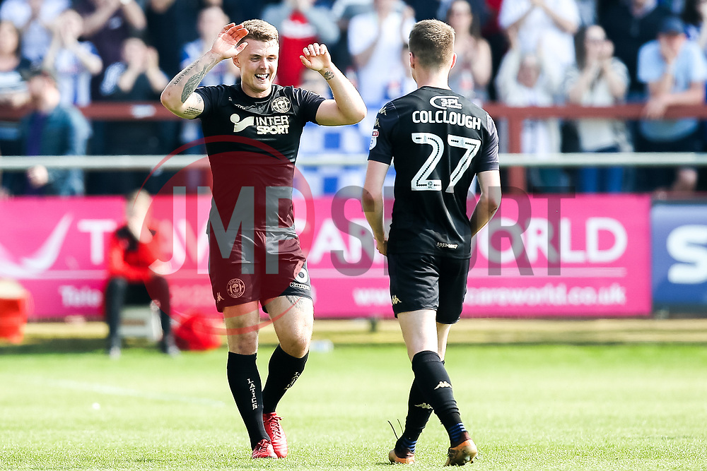 Max Power of Wigan Athletic celebrates scoring a goal to make it 1-0 - Mandatory by-line: Robbie Stephenson/JMP - 21/04/2018 - FOOTBALL - Highbury Stadium - Fleetwood, England - Fleetwood Town v Wigan Athletic - Sky Bet League One