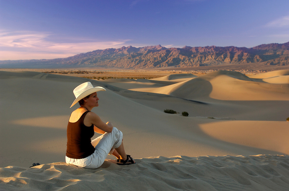 Person standing in Sand Dunes, Death Valley National Park, California, United States of America