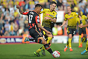 Shot on goal for AFC Bournemouth's striker Joshua King during the Barclays Premier League match between Bournemouth and Watford at the Goldsands Stadium, Bournemouth, England on 3 October 2015. Photo by Mark Davies.