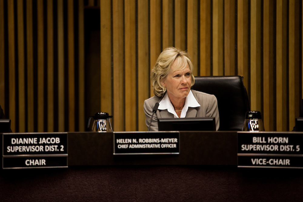 County Chief Administrative Officer Helen N. Robbins-Meyer attends a meeting of the San Diego County Board of Supervisors inside the County Administration Center in San Diego, California, U.S. on Tuesday April 15, 2014.