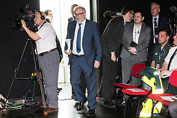 © Licensed to London News Pictures. 27/03/2018. Salford, UK. BOB KERSLAKE enters the room . The Kerslake Report in to the terrorist bombing of an Ariana Grande concert at the Manchester Arena on 22nd May 2017 , ordered by Greater Manchester Metro Mayor Andy Burnham , is published at a press conference at the University of Salford , at Media City . Amongst praise for many connected with the events, the report also highlights failings in communication at Greater Manchester Fire and Rescue on the night and disreputable behaviour by some sections of the media in the aftermath of the attack . Photo credit: Joel Goodman/LNP