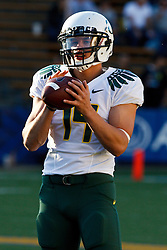 November 13, 2010; Berkeley, CA, USA;  Oregon Ducks quarterback Dustin Haines (14) warms up before the game against the California Golden Bears at Memorial Stadium. Oregon defeated California 15-13.