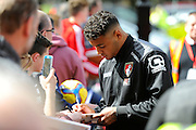 AFC Bournemouth defender Tyrone Mings signing autographs before the Barclays Premier League match between Bournemouth and Liverpool at the Goldsands Stadium, Bournemouth, England on 17 April 2016. Photo by Graham Hunt.