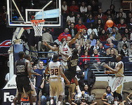 Ole Miss' Reginald Buckner (23) blocks a shot by Texas A&M's Ray Turner (35) in Oxford, Miss. on Wednesday, February 27, 2013. (AP Photo/Oxford Eagle, Bruce Newman)