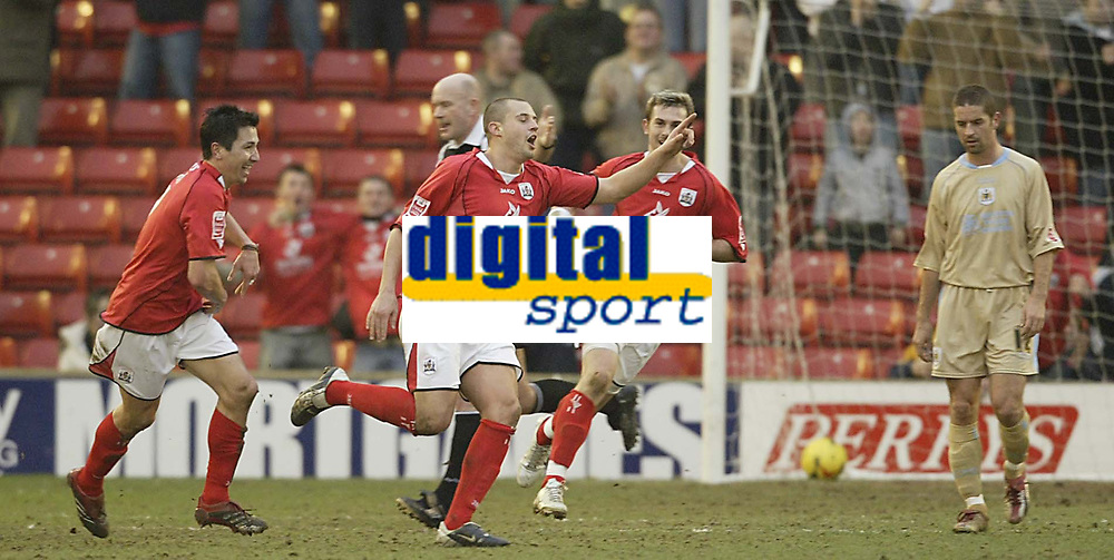 Photo: Aidan Ellis.<br /> Barnsley v Bristol City. Coca Cola League 1. 04/02/2006.<br /> Barnsley's Robbie Williams celebrates his and the first goal of the game