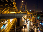 25 SEPTEMBER 2017 - RANGSIT, PATHUM THANI, THAILAND: Morning traffic going into Bangkok near Future Park Mall in Rangsit, Pathum Thani. Rangsit has become a sprawling Bangkok suburb and tens of thousands of people commute from Rangsit into the Thai capitol.       PHOTO BY JACK KURTZ