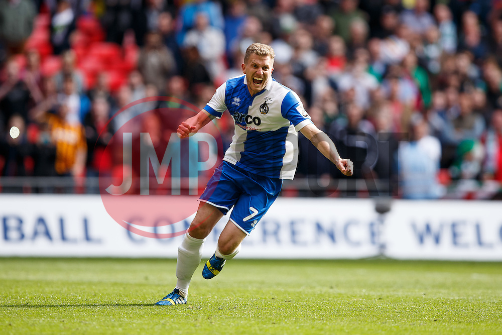 Lee Mansell of Bristol Rovers celebrates scoring the winning goal in a penalty shootout to secure promotion to the Football League 2 - Photo mandatory by-line: Rogan Thomson/JMP - 07966 386802 - 17/05/2015 - SPORT - FOOTBALL - London, England - Wembley Stadium - Bristol Rovers v Frimsby Town - Vanarama Conference Premier Play-off Final.