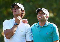 BORRIOL, SPAIN - OCTOBER 19:  Rafael Nadal (L) and Sergio Garcia of Spain look the ball during the pro - am prior to the start of the Castello Masters Costa Azahar at the Club de Campo del Mediterraneo on October 19, 2011 in Borriol, Spain.  (Photo by Manuel Queimadelos Alonso/Getty Images)