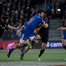 NZ's Aaron Smith tries to stop France's Kevin Gourdon during the Steinlager Series international rugby match between the New Zealand All Blacks and France at Forsyth Barr Stadium in Wellington, New Zealand on Saturday, 23 June 2018. Photo: Dave Lintott / lintottphoto.co.nz