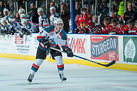 KELOWNA, CANADA - APRIL 14: James Hilsendager #2 of the Kelowna Rockets looks for the pass against the Portland Winterhawks on April 14, 2017 at Prospera Place in Kelowna, British Columbia, Canada.  (Photo by Marissa Baecker/Shoot the Breeze)  *** Local Caption ***
