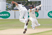Chris Dent pulls Muhammad Abbas for 4 during the Specsavers County Champ Div 2 match between Gloucestershire County Cricket Club and Leicestershire County Cricket Club at the Cheltenham College Ground, Cheltenham, United Kingdom on 16 July 2019.