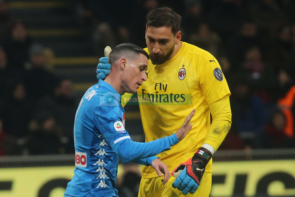 January 26, 2019 - Milano, Italy, Italy - Milano, Lombardia, Italy, 2019-01-26,San siro stadium, Serie A football match AC Milan - SSC Napoli in pictures  Donnarumma goalkeeper ac milan and Jos Callejon striker of SSC Napoli  (Credit Image: © Antonio Balasco/Pacific Press via ZUMA Wire)