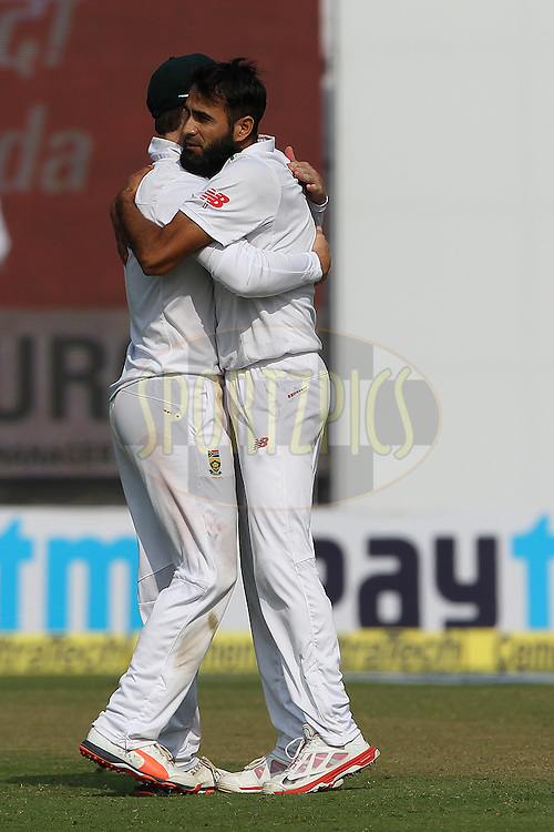 Imran Tahir of South Africa celebrates the wicket of  Ajinkya Rahane of India  during day two of the 4th Paytm Freedom Trophy Series Test Match between India and South Africa held at the Feroz Shah Kotla Stadium in Delhi, India on the 4th December 2015<br /> <br /> Photo by Ron Gaunt  / BCCI / SPORTZPICS