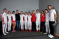 Zielona Gora, Poland - 2019 February 09: Tennis players members Polish national team (L-R) captain Dawid Celt and Magda Linette and Iga Swiatek and Magdalena Frech and Alicja Rosolska and Maja Chwalinska all from Poland and journalist (C) Michal Lewandowski pose to the picture during 2019 Fed Cup Europe / Africa Group I Tournament at MOSiR Hall on February 09, 2019 in Zielona Gora, Poland.<br /> <br /> Mandatory credit:<br /> Photo by © Adam Nurkiewicz<br /> <br /> Picture also available in RAW (NEF) or TIFF format on special request.<br /> <br /> Any editorial, commercial or promotional use requires written permission.<br /> <br /> Adam Nurkiewicz declares that he has no rights to the image of people at the photographs of his authorship.<br /> <br /> Image can be used in the press or another use when the method of use and the signature does not hurt people on the picture.