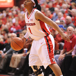 Feb 24, 2009; Piscataway, NJ, USA; Rutgers guard Khadijah Rushdan (1) looks for a play during the second half of Rutgers' 71-52 victory over Cincinnati at the Louis Brown Athletic Center.