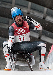 11.02.2018, Olympic Sliding Centre, Pyeongchang, KOR, PyeongChang 2018, Rodeln, Herren, 4. Lauf, im Bild David Gleirscher (AUT, 1. Platz und Goldmedaillengewinner) // gold medalist and Olympic champion David Gleirscher of Austria during the Men's Luge Singles Run 4 competition at the Olympic Sliding Centre in Pyeongchang, South Korea on 2018/02/11. EXPA Pictures © 2018, PhotoCredit: EXPA/ Johann Groder
