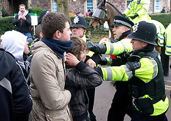 © under license to London News Pictures. 30/11/2010 Student clash with police near Bristol university today (30/11/2010) during demonstrations against proposed increases to higher education fees. Protests are taking place all over the UK. Credit should read: David Hedges/LNP