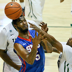 Jan 17, 2016; New Orleans, LA, USA; Tulane Green Wave guard Von Julien (10) knocks the ball away from Southern Methodist Mustangs forward Markus Kennedy (5) during the first half of a game at the Devlin Fieldhouse. Mandatory Credit: Derick E. Hingle-USA TODAY Sports
