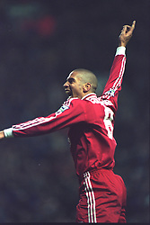 LIVERPOOL, ENGLAND - Saturday, January 6, 1996: Liverpool's Stan Collymore celebrates scoring the third of his hat-trick of goals against Rochdale during the FA Cup 3rd Round match at Anfield. (Photo by David Rawcliffe/Propaganda)