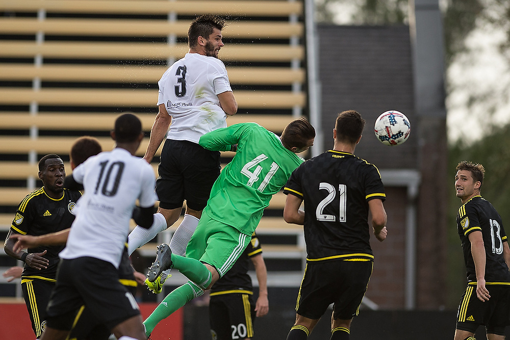 Charleston's Forrest Lasso (3) heads the ball for a goal. <br /> Columbus Crew SC vs. Charleston Battery at MUSC Health Stadium in Charleston, S.C. on Wednesday, Feb. 22, 2017.<br /> Zach Bland Photo