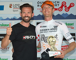 07.07.2017, St. Johann Alpendorf, AUT, Ö-Tour, Österreich Radrundfahrt 2017, 5. Etappe von Kitzbühel nach St. Johann/Alpendorf (212,5 km), im Bild Rene Haselbacher, Sponsor und Pieter Weening (NED, Roompot Nederlandse Loterij) Glocknerkönig // Rene Haselbacher and Pieter Weening of Nederlands (Roompot Nederlandse Loterij) Glocknerkoenig during the 5th stage from Kitzbuehel to St. Johann/Alpendorf (212,5 km) of 2017 Tour of Austria. St. Johann Alpendorf, Austria on 2017/07/07. EXPA Pictures © 2017, PhotoCredit: EXPA/ Reinhard Eisenbauer