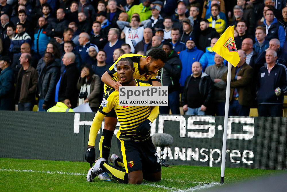 Odion Ighalo celebrates his goal with Etienne Capoue during Watford v Tottenham, Barclays Premier League, Monday 28th December 2015, Vicarage Road, Watford