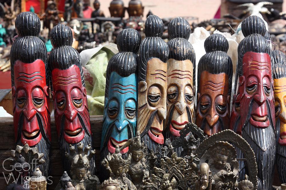 Wooden carvings in market place. Kathmandu, Nepal