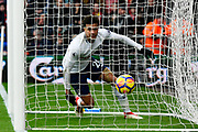 Goal - Dele Alli (20) of Tottenham Hotspur ends up in the net after scoring the equalising goal to make the score 1-1 during the Premier League match between Bournemouth and Tottenham Hotspur at the Vitality Stadium, Bournemouth, England on 11 March 2018. Picture by Graham Hunt.