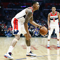 09 December 2017: Washington Wizards guard Bradley Beal (3) dribbles during the LA Clippers 113-112 victory over the Washington Wizards, at the Staples Center, Los Angeles, California, USA.