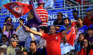 Kings XI Punjab Fan's enjoys during match 15 of the Pepsi Indian Premier League 2014 Season between The Kings XI Punjab and the Kolkata Knight Riders held at the Sheikh Zayed Stadium, Abu Dhabi, United Arab Emirates on the 26th April 2014<br /> <br /> Photo by Sandeep Shetty / IPL / SPORTZPICS