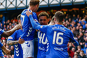 James Tavernier of Rangers celebrates with his team mates during the Ladbrokes Scottish Premiership match between Rangers and Motherwell at Ibrox, Glasgow, Scotland on Sunday 11th November 2018.