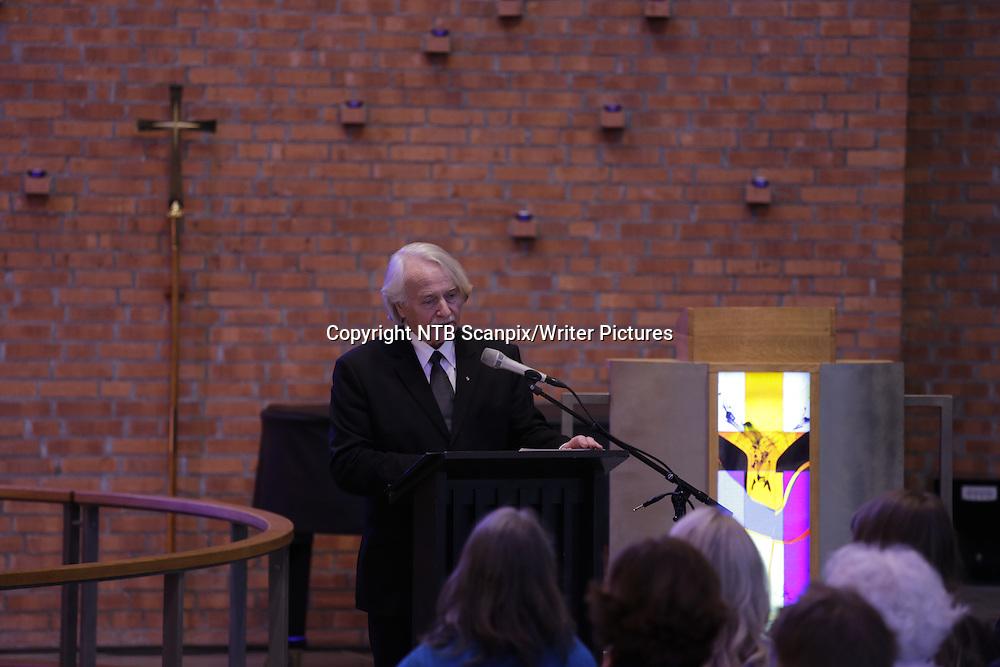 Kristiansand, NORGE / NORWAY 20140325.<br /> Paal-Helge Haugen under bisettelsen av kunstneren Kjell Nupen i S&macr;m kirke i Kristiansand onsdag.<br /> Foto: Tor Erik Schr&macr;der / NTB scanpix<br /> <br /> NTB Scanpix/Writer Pictures<br /> <br /> WORLD RIGHTS, DIRECT SALES ONLY, NO AGENCY