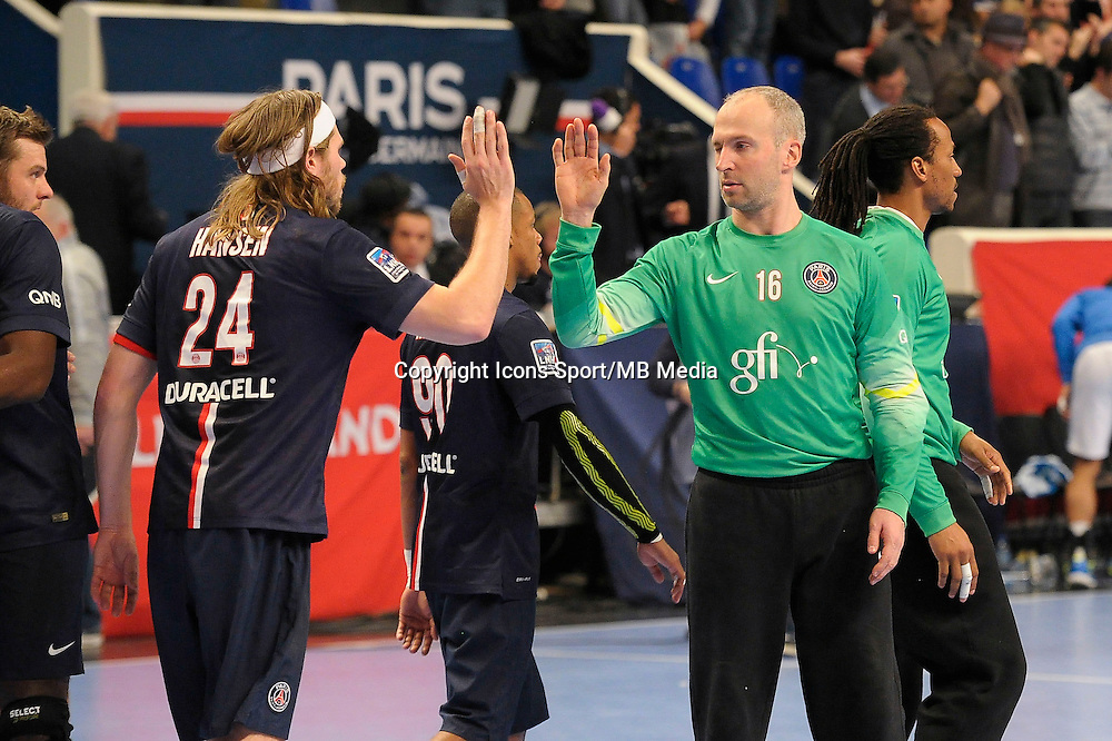 Joie PSG / Mikkel Hansen / Thierry Omeyer - 03.12.2014 - PSG / Montpellier - 12eme journee de D1<br />Photo : Andre Ferreira / Icon Sport