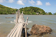 A rickety hand made bridge on Palawan island in Taytay, Philippines.