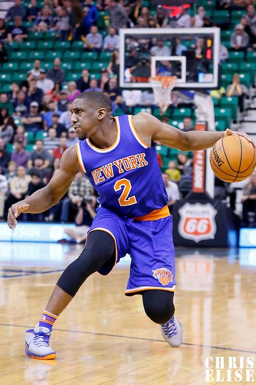 09 December 2015: New York Knicks guard Langston Galloway (2) dribbles during the Utah Jazz 106-85 victory over the New York Knicks, at the Vivint Smart Home Arena, Salt Lake City, Utah, USA.