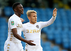 Leeds United's Samu Saiz celebrates his goal with Hadi Sacko during the Carabao Cup, First Round match at Elland Road, Leeds.