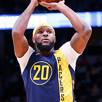 03 April 2018: Indiana Pacers forward Trevor Booker (20) is seen at the free throw line during the Denver Nuggets 107-104 victory over the Indiana Pacers, at the Pepsi Center, Denver, Colorado, USA.