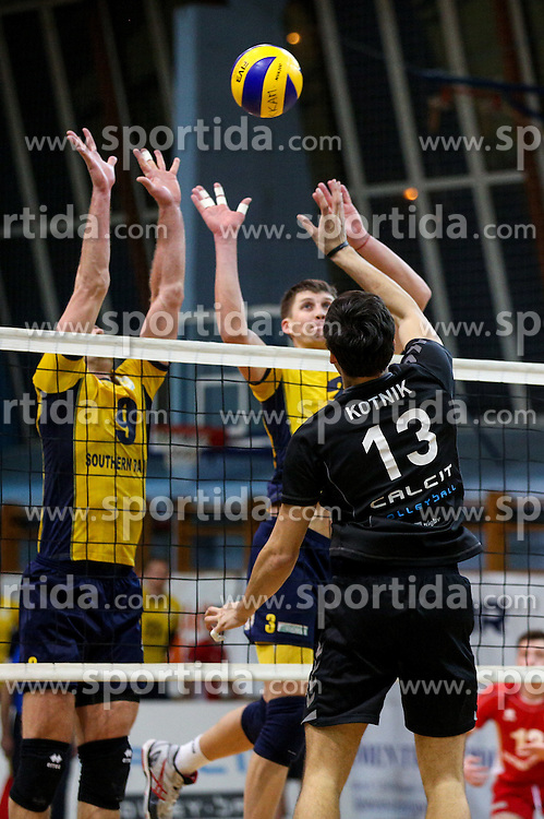 Domen Kotnik of Calcit Volleyball during volleyball match between Calcit Volleyball and Lokomotiv Kharkiv in CEV Challenge Cup, on January 27, 2016 in Sportna dvorana, Kamnik, Slovenia. (Photo By Matic Klansek Velej / Sportida)