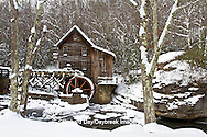 67395-04211 Glade Creek Grist Mill in winter, Babcock State Park, WV
