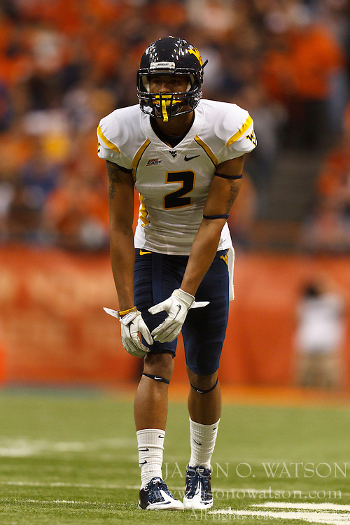 Oct 21, 2011; Syracuse NY, USA;  West Virginia Mountaineers wide receiver Brad Starks (2) lines up for a play against the Syracuse Orange during the third quarter at the Carrier Dome.  Syracuse defeated West Virginia 49-23. Mandatory Credit: Jason O. Watson-US PRESSWIRE