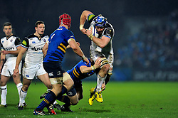 David Denton of Bath Rugby takes on the Leinster defence - Mandatory byline: Patrick Khachfe/JMP - 07966 386802 - 16/01/2016 - RUGBY UNION - RDS Arena - Dublin, Republic of Ireland - Leinster Rugby v Bath Rugby - European Rugby Champions Cup.