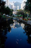 Goldfish swim in a pond in Hong Kong Park, Hong Kong, China.