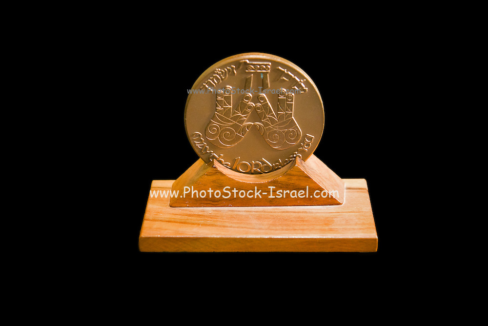 Israeli Priestly Blessing bronze Medal on black background