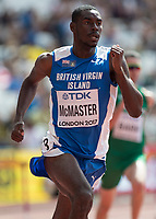 Athletics - 2017 IAAF London World Athletics Championships - Day Three, Morning Session<br /> <br /> 400m Hurdles Men - Round One<br /> <br /> Kyron McMaster (United States) at the London Stadium <br /> <br /> COLORSPORT/DANIEL BEARHAM