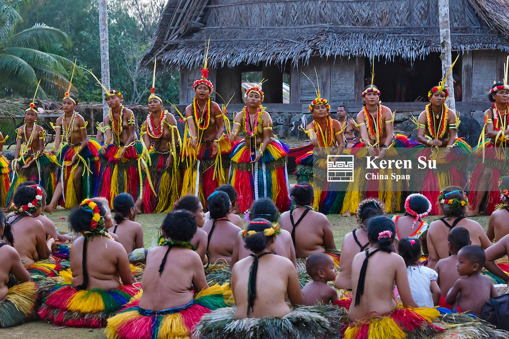 Yapese people watching Yap Day Festival performance, Yap Island, Federated States of Micronesia