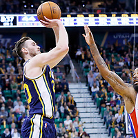 25 January 2016: Utah Jazz forward Gordon Hayward (20) takes a jump shot over Detroit Pistons forward Marcus Morris (13) during the Detroit Pistons 95-92 victory over the Utah Jazz, at the Vivint Smart Home Arena, Salt Lake City, Utah, USA.